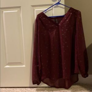 red and gold long sleeve blouse